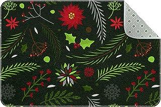 Doormat Custom Indoor Welcome Door Mat, Christmas Leaf Pattern Home Decorative Entry Rug Garden/Kitchen/Bedroom Mat Non-Sl...