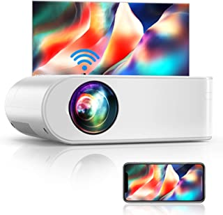 "YABER V2 WiFi Mini Projector 6000L [Projector Screen Included] Full HD 1080P and 200"" Supported, Portable Wireless Mirrori..."