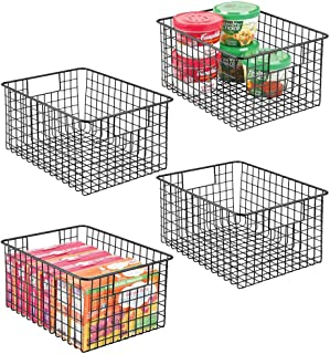 mDesign Farmhouse Decor Metal Wire Food Storage Organizer Bin Basket with Handles - for Kitchen Cabinets, Pantry, Bathroom, Laundry Room, Closets, Garage, 12