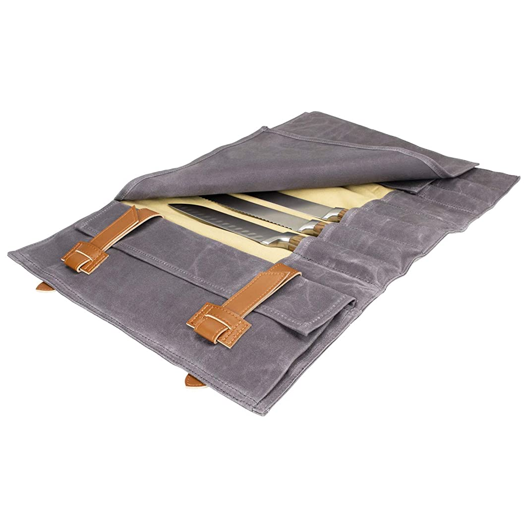 Zelancio Waxed Canvas Knife Roll Bag with 9 Knife Slots and 4 Additional Pockets for Additional Tools and Accessories, Ultra Portable and Safe, Fits All Knife Sets