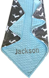 Personalize Double Minky Baby Blanket or Lovey - Deer Print Blanket, You Choose SOLID COLOR minky