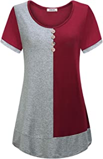 AxByCzD Women's Short Sleeve Round Neck Color Block Flare Tunic Tops