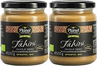 Planet Plant-Based Tahini integral (de sésamo con cáscara) 2x250g, orgánico, vegano, sin gluten. Semillas de sésamo enteras tostadas, sin aditivos. Completamente natural, con consistencia cremosa