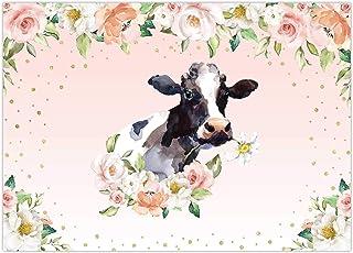 Funnytree 7x5FT Cow Birthday Party Backdrop Animal Farm Barn Flower Background Baby Shower Childern Bday Banner Cake Smash...