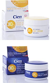 Set of 2 x 50 ml Cien Anti-Wrinkle DAY + NIGHT CREAM - with q10, Hyaluronic Acid & Vitamin E by Cien