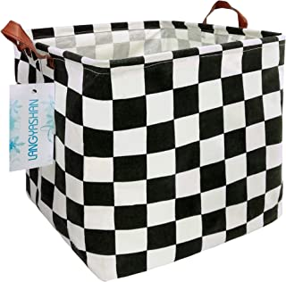 LANGYASHAN Square Storage Baskets Waterproof Canvas Children Laundry Nursery Hamper for Shelves Gift Baskets Toy Organizer...