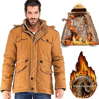 Mens Winter Military Warm Jacket Fleece Coat with Detachable Fur Hood Outwear