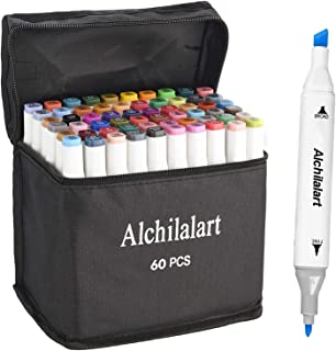 60-Colors Alcohol Markers, Alchilalart Sketching Markers Set, Double Tipped, Artist Art Markers for Kids Adults Illustrati...