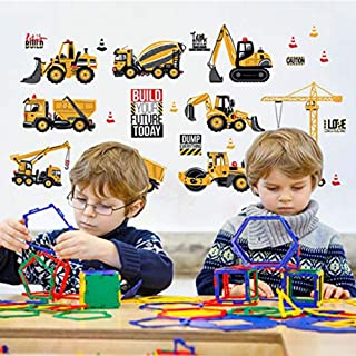 DaliyFu City Construction Site Kids Wall Decals Wall Stickers Engineering Vehicles Wall Stickers Cranes Wall Art Sticker Decals, Cartoon Children Bedroom Wall Decal Removable Wall Home Decal