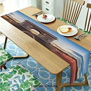 European Table runner for Farmhouse Dining Coffee Table Decorative,Paris Famous Champs Elysees Avenue Historical Monument French Culture Panorama 16