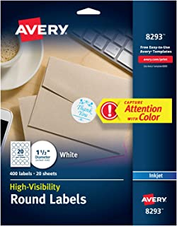 "Avery High Visibility Round Labels with Sure Feed for Inkjet Printers, 1-1/2"", 400 Labels (8293)"