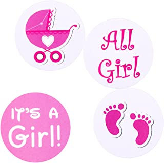 216 PCS Girl Party Sticker Gender Reveal Party Stickers It's A Girl Pink Pram Little Feet Stamping Labels Favors Games Sup...