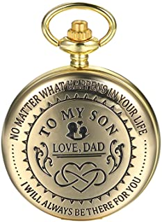 """JewelryWe Men Pocket Watch Classic Vintage Pendant Watch """"to My Son"""" Watch Gift for Father Mother Son Necklace Watch with ..."""