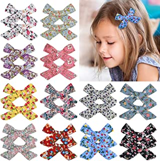 Baby Girls Hair Bow Clips Hair Alligator Barrettes for Toddlers Little Girls School Girls teens (3.5In 24Pcs Print)