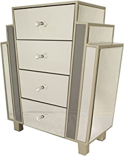 Heather Ann Creations Art Deco Style Mirrored 4 Drawer Cabinet, Champagne