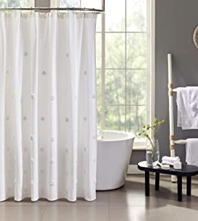 Tahari Home | Grace Bath Collection | Modern Heavyweight 100% Cotton Shower Curtain, Stylish with Tufted Ombre Dot Print, ...