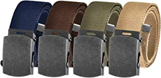 Men's Cut to Fit Golf Belt Casual Outdoor Canvas with Distressed Silver Slider Buckle