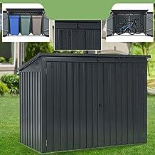 Juskys Mülltonnenbox Namur | Aufbewahrungsbox für 3 Tonnen | 1,9m² | 2 Türen abschließbar | Metall | grau | Mülltonnenverk...