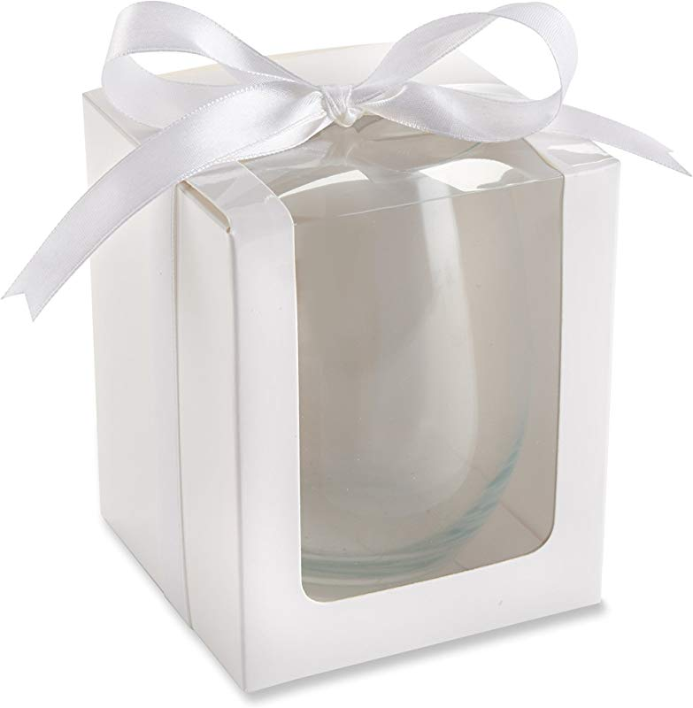 Kate Aspen 15 Ounce Stemless Wine Glass Display Box Party Favor Set Of 12 Gift White