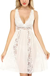 DLOREUK Womens Plus Size Lingerie Lace Babydoll Chemise V-Neck Nightgown  S-4XL 6c1ce5cfb