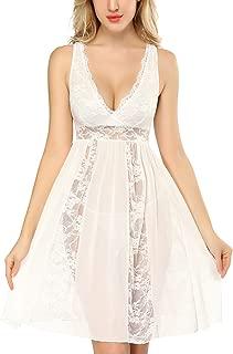 DLOREUK Womens Plus Size Lingerie Lace Babydoll Chemise V-Neck Nightgown S-4XL