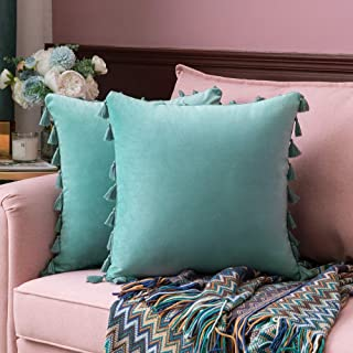 MIULEE Pack of 2 Velvet Soft Solid Decorative Throw Pillow Cover with Tassels Fringe Boho Accent Cushion Case for Couch Sofa Bed 18 x 18 Inch Aqua Green