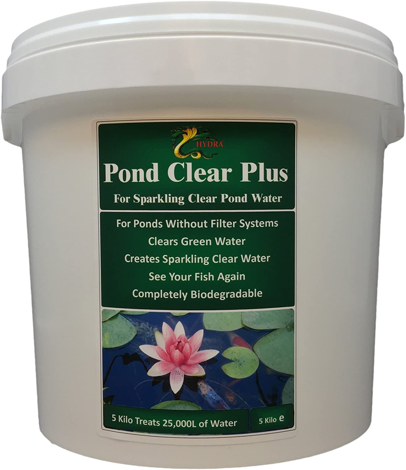 HYDRA POND CLEAR PLUS 5KG Clear Green Water in Ponds without External Filter, Treatment Dilution 1 10,000