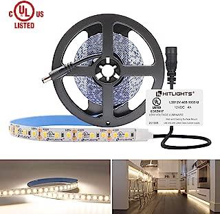 HitLights Neutral White LED Light Strip, Premium 2835-10 Feet, 360 LEDs, 4000K, 828 Lumens 5.6 Watt/Foot. UL-Listed. 12V DC Tape Light