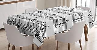ABAKUHAUS La Musique Nappe, Notes sur la Clef, Linge de Table Rectangulaire pour Salle à Manger Décor de Cuisine, 140 cm x...