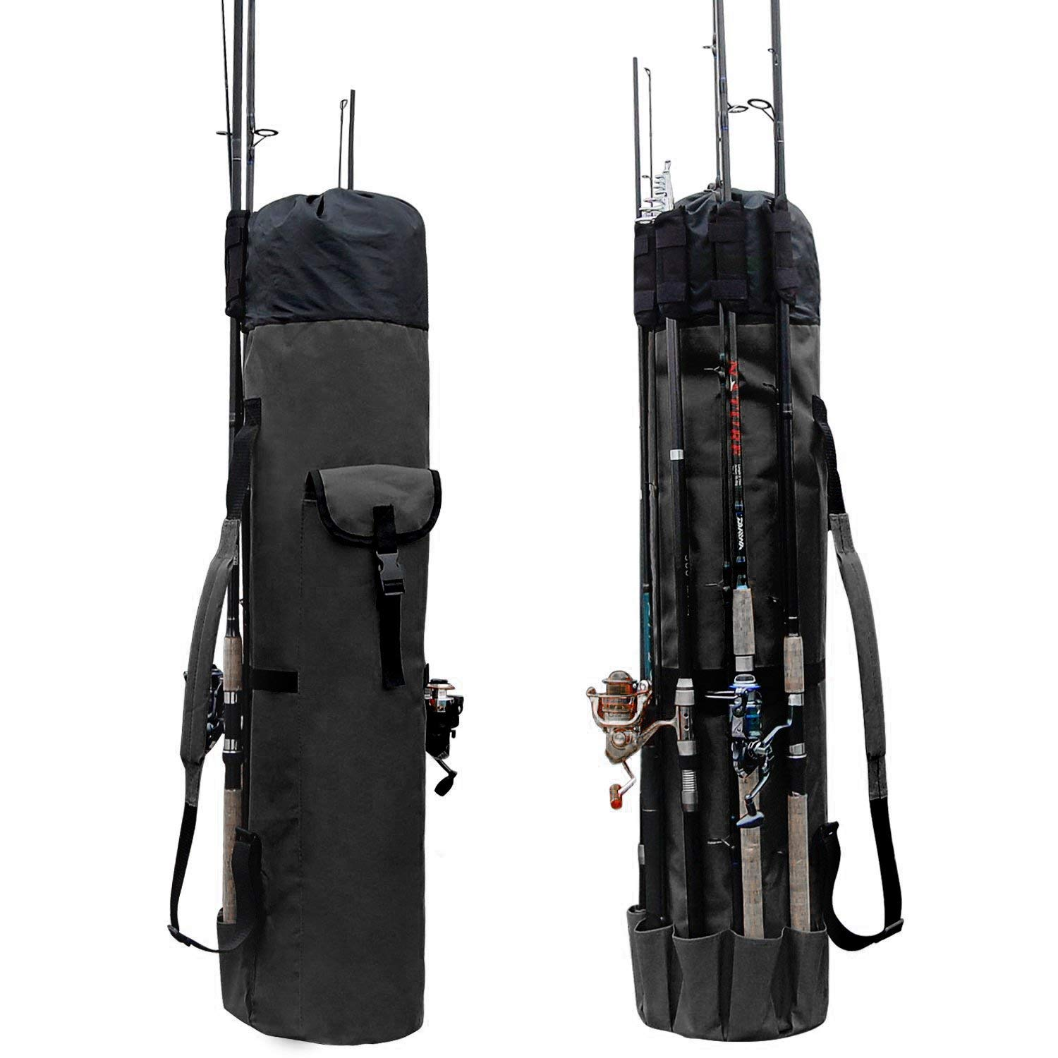 Amazon Com Allnice Durable Canvas Fishing Rod Reel Organizer Bag Travel Carry Case Bag Holds 5 Poles Tackle Black Sports Outdoors