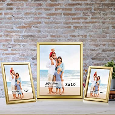 LaVie Home 8x10 Picture Frames (6 Pack, Gold) Simple Designed Photo Frame with High Definition Glass for Wall Mount & Tab