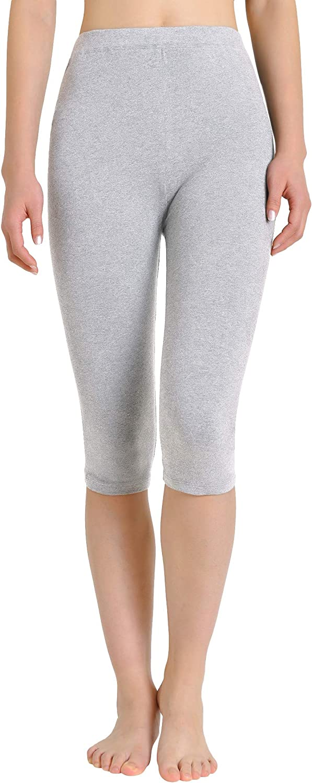 Weintee Women's High Waisted Cotton Capri Leggings