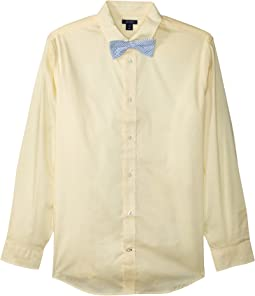 Tommy Hilfiger Kids Long Sleeve Stretch Poplin Shirt w/ Bow Tie (Big Kids)