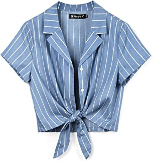 Women's Button Down Chambray Crop Shirts Tie Front Blouse Short Sleeve Casual Summer Tops