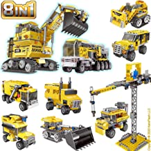 KareFLASH Construction Vehicles Lego Compatible Bricks | 8 Individual Boxes, 26 Projects | Car Truck Excavator Bulldozer Dump Tower Jeep | Party Favors Bags | Kids Love Them!