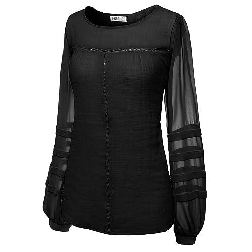 d8ed20889171c H2H Womens Long Sleeve Loose Fit Pleated Boho Bohemian Blouse Shirt Top