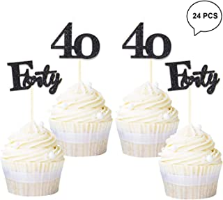 Newqueen 24 Pack Number 40 Cupcake Toppers Black Glitter Forty Cupcake Picks Wedding Anniversary 40th Birthday Party Cake Decorations