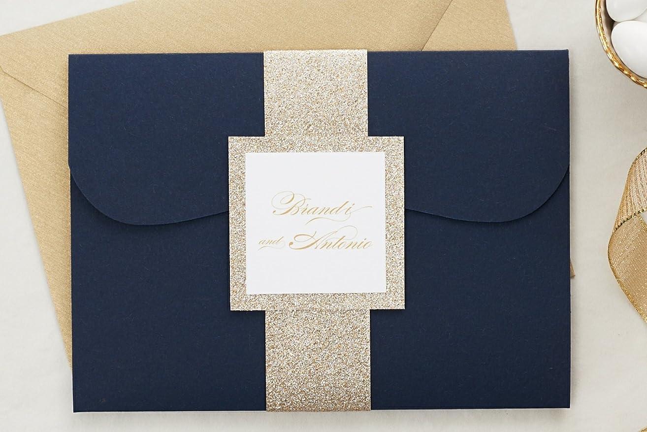 Custom Elegant Wedding Invitations Set in Pocketfold, Glitter Wedding Set with RSVP, Brandi Sample