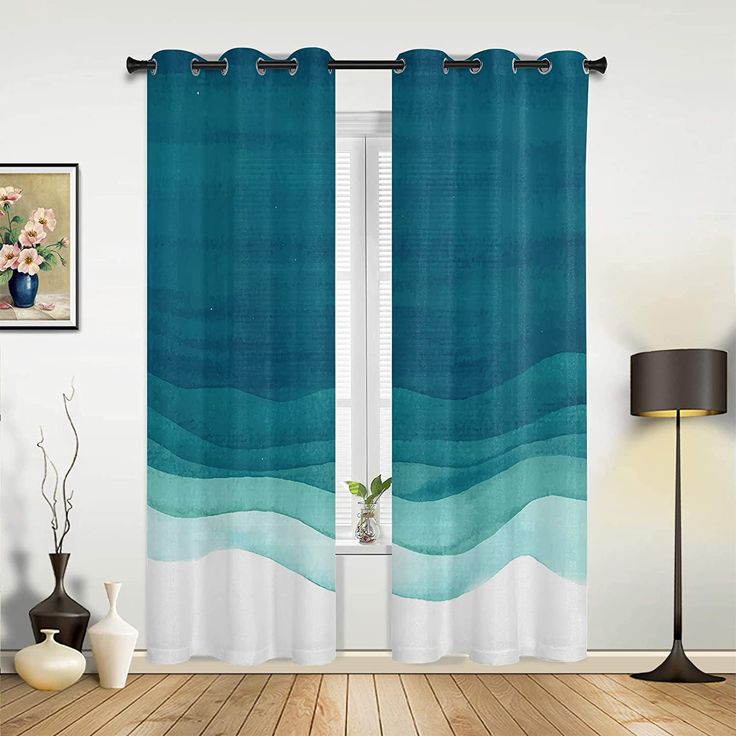 Window Sheer Curtains for Bedroom Whit Room Blue Award-winning store Living Gradient Today's only