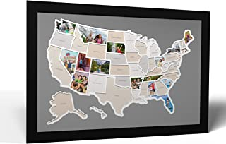 Thunder Bunny Labs 50 States USA Photo Map - Frame Optional - Made in America (Driftwood, Black Frame)
