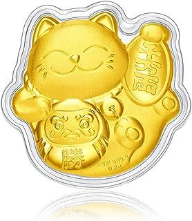 CHOW TAI FOOK 999 24K Gold Maneki-Neko Fortune Cat Gold Coin with ID Badge Holder & Landyad