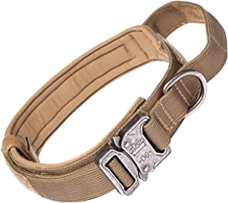 yipet Tactical Dog Collars Military Training Nylon Adjustable Dog Collar with Control Handle Beige M