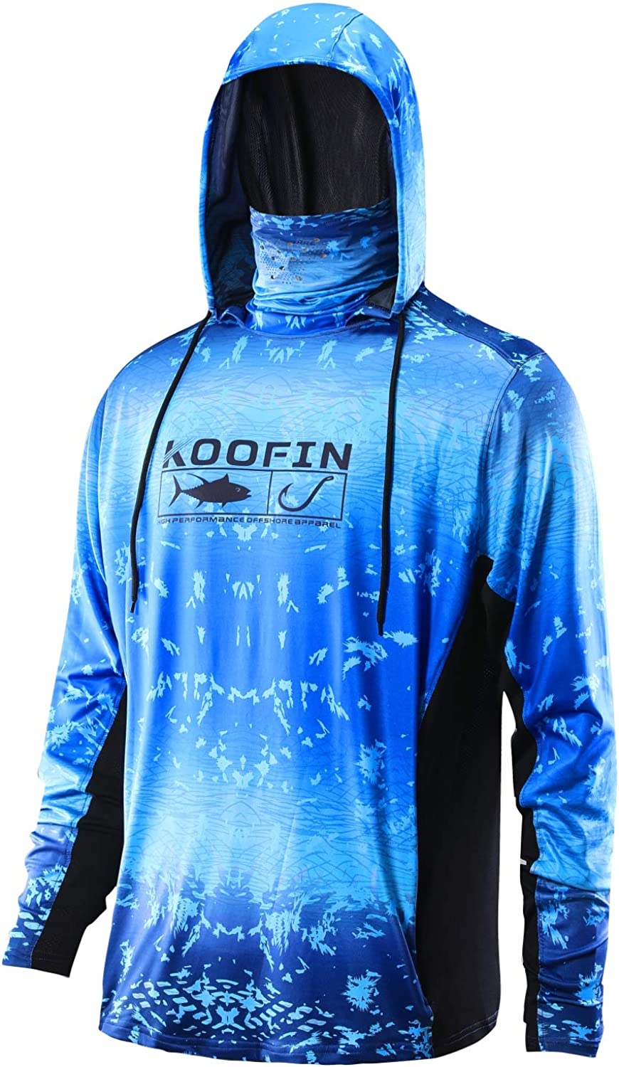 Performance Fishing Hoodie with Face Los Angeles sold out Mall UPF50 H Sunblock Mask Shirt