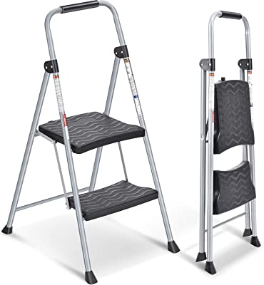 2 Step Ladder, Folding Step Stool with Handgrip, Heavy Duty Metal Ladder with Anti-Slip Rubber Feet and Wide Plastic Pedal, Portable for Household, Office, School, Hospital, 200LBs Capacity