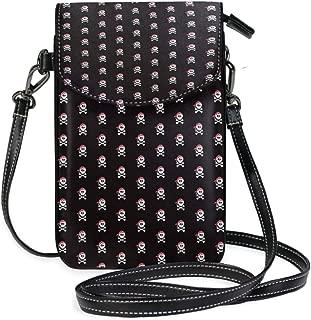 LORONA Black Skull And Crossbones Pattern Cell Phone Purse Wallet for Women Girl Small Crossbody Purse Bags