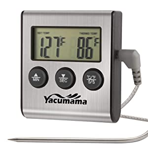 Yacumama Digital Oven Thermometer, Instant Read, Probe Safe Leave in for Gas, Electric Oven. Kitchen Timer with Long Cord and Probe. Dual Magnets for Meat BBQ, Grill, Candy, Smoker Cooking.