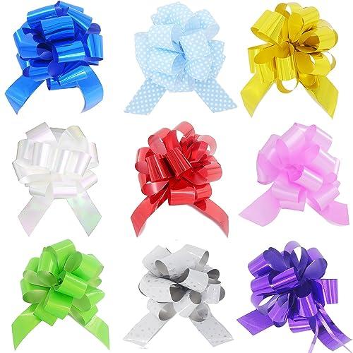 Yeeper Petit Nœud Papillon en Ruban de Couleur Décoration Voiture de Mariage Emballage de Cadeau Lot de 9