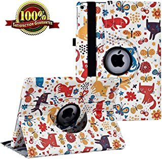 iPad 9.7 inch Case 2018 2017/ iPad Air Case - 360 Degree Rotating Stand Protective Cover Smart Case with Auto Sleep/Wake for Apple iPad 5th/6th Generation (White Cat)
