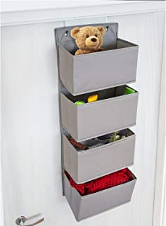 Tatkraft Wonder Over the Door Hanging Organizer, 4 fickor, lämplig för barnkammare, badrum, garderob, självhäftande krokar...