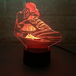 Sneakers 3D Lamp Table NightLight 7 Color Change Running Shoes LED Desk Light Touch Multicolored USB Power As Home Decoration Lights Tractor for Boys Kids (Touch) (Air Jordan 5 Supreme)